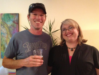 Gordon Kear, owner of Altamont Brewing with Tricia Zinke, owner of Asheville Hair Design