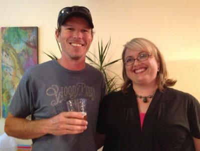 Gordon Kear, owner of Altamont Brewing with Tricia Zinke, owner of Asheville Hair Design
