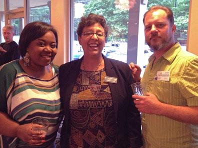 Kimberly Hunter and Sharon Oxendine from Mountain BizWorks with Mark Hebbard from Just Economics